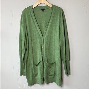 Eileen Fisher Merino Wool Long Button Cardigan